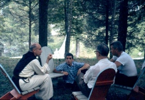Merton and circle at Roots Retreat